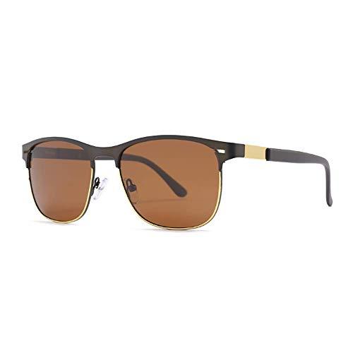 Delilya UV400 Classic Half Frame Herren Sonnenbrillen, Sonnenbrillen Männer Frauen Horn Umrandete Classic Retro Vintage Style Sonnenbrillen Voller UV400-Schutz,Tea