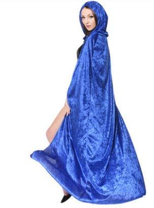 Und Kostüm Blau Hexe Schwarz - Halloween Kostüm Erwachsene Hexen Mantel Schwarzer Todesumhang Vampir Maskerade Blau 170Cm