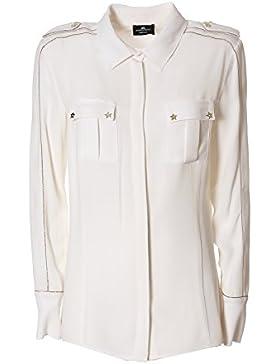 Elisabetta Franchi Camicia Donna CA01076E2360 Viscosa Beige/Bianco