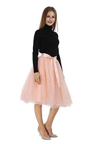 Pulchram Gonna in Tulle 7 Strati Sottogonna Balletti Petticoat Tutu con Cintura per Festa Party Pink