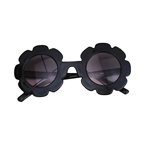 Eghunooye Süße Kinder Blumen Rundes Sonnenbrille UV400,Urlaub Strand Party Fotografie Sonnenschutz Brillen Sonnenbrille Geschenk für Junge Mädchen (Schwarz, 0-8 Jahre) -