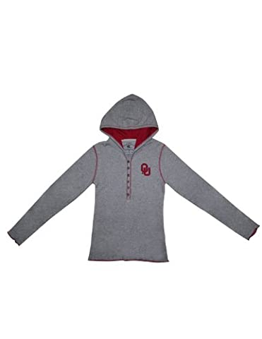 NCAA Oklahoma Sooners Girls Slim Fit Pullover Long Sleeve Hooded T Shirt XL(16) Grey