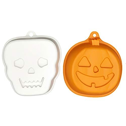 Silikon-Backformen für Kuchen, Kürbiskuchen, Halloween, 2er-Pack: 3D Orange Kürbis + weißer Totenkopf Medium 2pcs