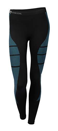 STARK SOUL Damen Seamless Ski Funktionswäsche, Outdoor Unterwäsche (L/XL Hose schwarz/blau)