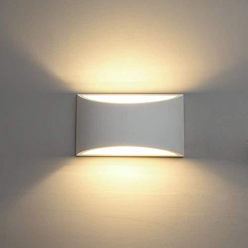 Deckey lampada da parete in ceramica, illuminazione decorativa in gesso applique led up down, luce effetto interno linee di disegno moderno semplice (bianco caldo (tipo 1))