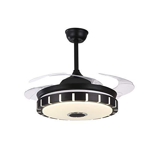 XMAGG Ventilatori da soffitto con Lampada, Altoparlante Bluetooth 4 Lame Retrattili 3 Lampadari a 3 Velocità con Cambio Colore con Telecomando