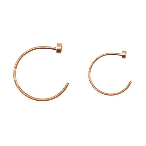 Fifth Cue Rose Gold flache Scheibe Hoop 316L chirurgischer Stahl Nasenring - (22G - 8mm & 10mm (beide Größen)) (Chirurgischer Stahl 18g Nasenring)