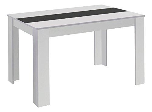 Cavadore Tisch Nico / Moderner Esstisch mit Melaminplatte in Schwarz-Weiß / gefertigt aus weißem Melamin / 160 x 90 x 75 cm (L x B x H)
