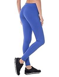 SYROKAN Femme Legging Longs de Sport Collant Capri Uni Lime Fitness Pantalon