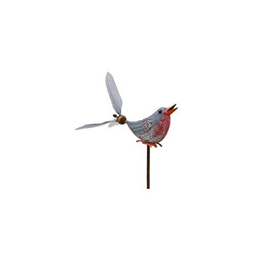 L'Héritier Du Temps Mobile Eolienne de Forme Oiseau Tuteur de Jardin ou Plante en Fer Patiné Coloré 10x16x66cm - Bleu-Rouge