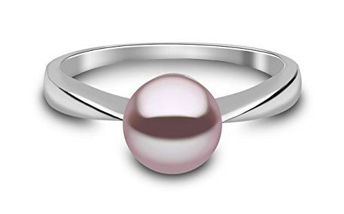 Kimura Pearls 9ct Weiß Gold Natural Farbe Süßwasser-Perle Ring–Größe M RN0057–301NM (Süßwasser Schwarz Perle Ring)