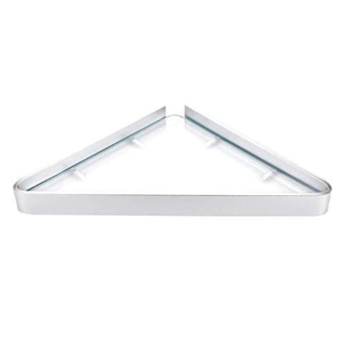 wcj Punch-Free Badezimmer Küchenregal aus gehärtetem Glas Regal, Badezimmerschrank Wand Eckregal, Spiegel Frontrahmen 1 2 3 Schicht Raum Aluminium Bad Ablageböden, eloxiert, 9,8 '' X9,8 '',1 Schicht -