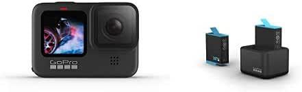 GoPro HERO9 Black - Caméra embarquée étanche avec écran LCD avant et écran tactile à l'arrière, vidéo 5K Ultra HD, webcam, stabilisation + Chargeur de batterie double et batterie