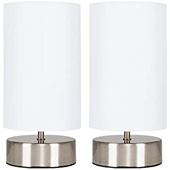 Endon Pair Of Cylinder Touch Table Lamps White Cream