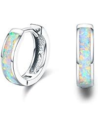 Damen Creolen Ohrringe,925 Sterling Silber Opal Ohrringe Kleine Creolen Kreis Ohrringe Muttertag Geschenke für Mama Frauen