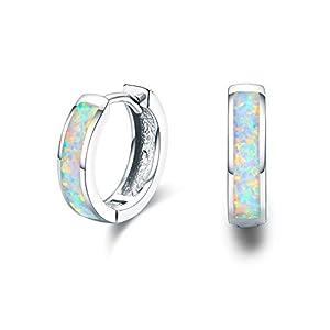 Damen Creolen Ohrringe,925 Sterling Silber Opal Ohrringe Kleine Creolen Kreis Ohrringe Kreolen Valentinstag Geschenke für Tochter,Kinder,Mädchen