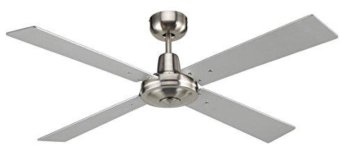 Ventilatore da soffitto Beacon 210337 Airfusion Quest II Lucci Air diametro 132 cm con regolatore a parete 4 pale reversibili in legno colore silver e teak 3 velocità con inversione del senso di rotazione