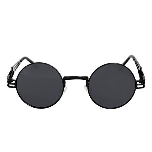e36d026857c83f AMZTM Rétro Steampunk Lunettes de Soleil Lunettes Rondes Vintage Hippie  pour Femme Homme Lentille Polarisée Armature en Métal Protection UV  400(Cadre Noir ...
