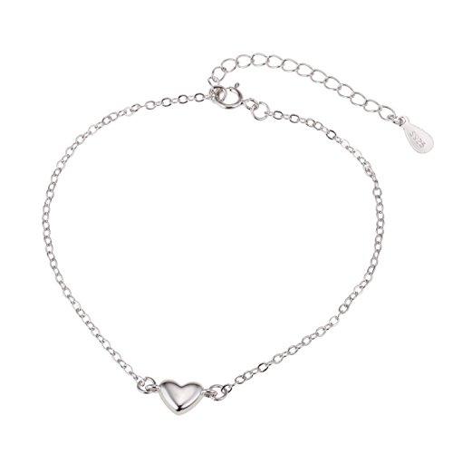 Good.Designs ® Silbernes Damen Armband mit kleinem Herz Anhänger (Freundschaftsarmband) Größenverstellbares Armkettchen für Frauen oder Mädchen in Silver silberfarben silbernesarmband