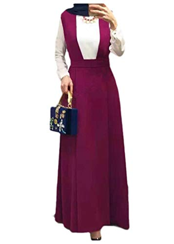 CuteRose Women Loose High-Rise Solid Colored Swing Suspenders Full Length Skirt Rose Red L Bow-front Pencil-skirt