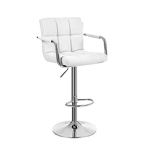 D-Z Quadratisch Verstellbares Pu-Leder Einfacher und Stilvoller Barhocker, 360 ° Drehbarer Hocker, Fuß und Fußstütze aus Chrom, mit Armlehnen und Rückenlehne, Weißer TA -
