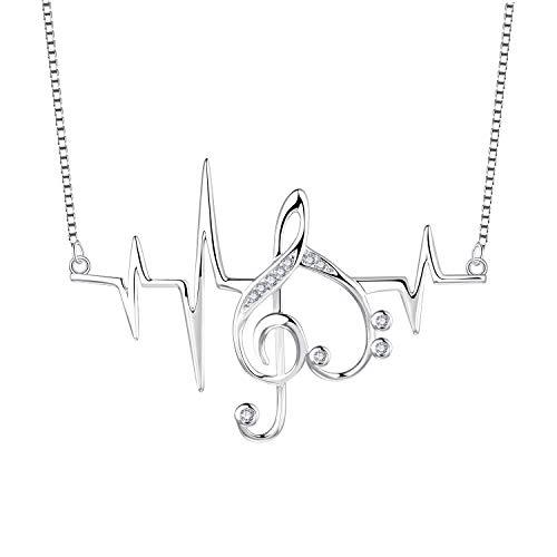 JO WISDOM Damen EKG Herz Kette Silber 925 Zirkonia Noten Anhänger Vviolinschlüssel Herzschlag Halskette - Kettenlänge 45cm mit Geschenkbox