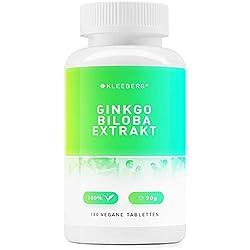 Kleeberg Ginkgo Biloba Extrakt, 60-180 vegane Tabletten, 120 mg Extrakt aus 6000 mg Ginkgo Biloba Blattpulver je Tablette (180)