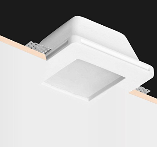 KingLed - Support encastré en céramique de gypse céramique carré avec verre opaque pour projecteur Gu10 et M16 - Taille 121x121x64mm Cod. 1425