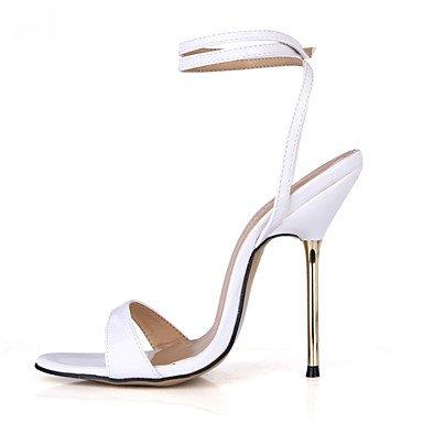 LFNLYX Sandales femmes à bride d'été robe de soirée partie & PU talon Or Blanc Bleu Bourgogne White