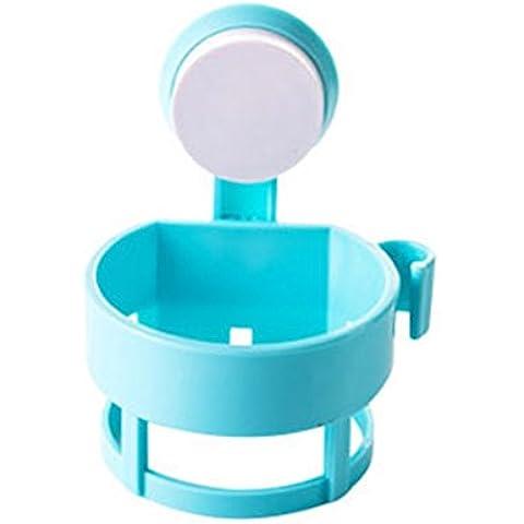 Moolecole Poderoso Succión Vaso Pared Montado Cabello Secadora Poseedor Estar Soplar Secadora Estante Almacenamiento Organizador Azul
