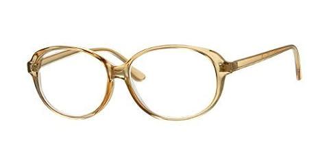 Large Oversize Frame Translucent Tan Brown Reading Glasses +2.00, Inc Slip In Case, Men Women Unisex Retro by Eyewear World