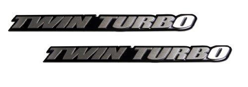 2 x (pair/Set) Twin Turbo Aluminum Emblems Badges for Toyota Camry Corolla Supra JZA80 Mitsubishi 3000GT Lancer EVO Evolution X Mazda RX7 RX-7 Volvo S80 Chrysler Crossfire Dodge Stealth RT
