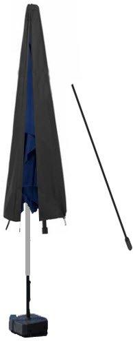 Deluxe Polyester Schutzhülle Schutzhaube Abdeckung mit stab für Sonnenschirm Schirm 220cm grau