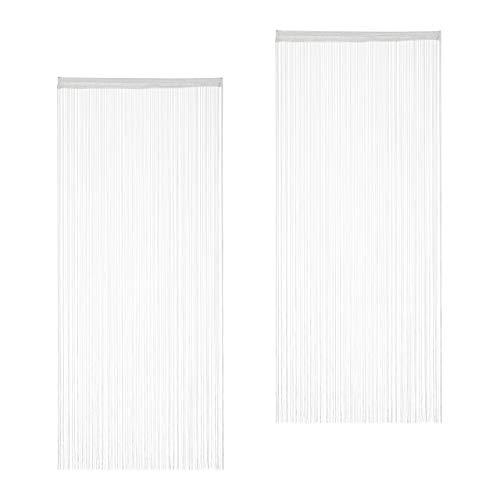 Relaxdays Fadenvorhang weiß, 2er Set, kürzbar, mit Tunneldurchzug, für Türen & Fenster, Fadengardine, 90x245 cm, White
