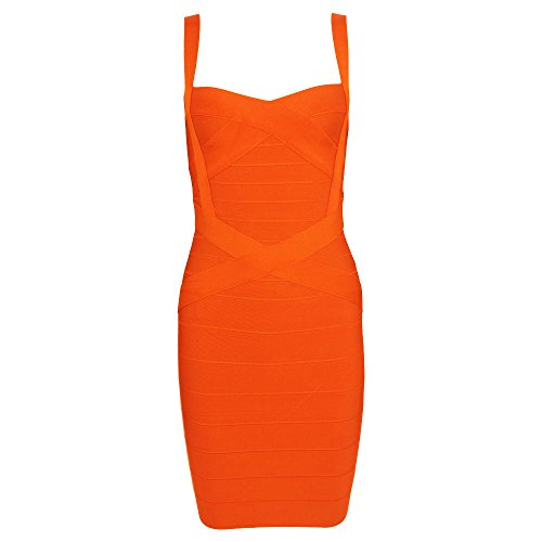 HLBandage Spaghetti Bügel Damen Kunstseide Mini Verband Kleid(XS,orange) -