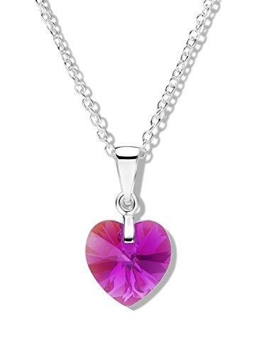 Jo for Girls-Ciondolo in argento Sterling con ciondolo Aurora Borealis Fuscia con cristalli Swarovski a forma di cuore, lunghezza 41 cm