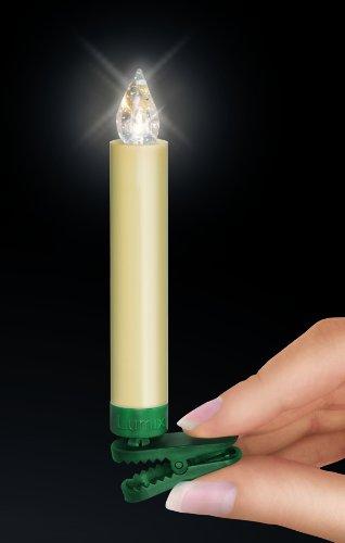 Krinner 74322 LUMIX CLASSIC - Set básico de iluminación para el árbol con 10 velas LED inalámbricas y mando infrarrojo, color blanco cálido (pilas incluidas)