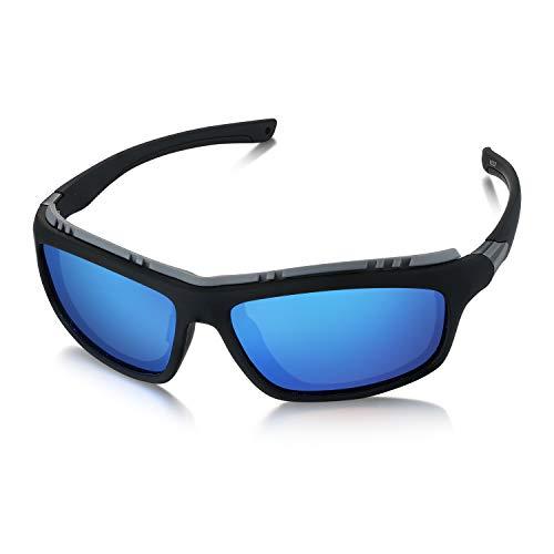 WHCREAT Polarisierte Sportbrille Sonnenbrille Fahrradbrille Entfernbar Gepolstert Rahmen für Laufen Radfahren (Matt-schwarz Rahmen - Verspiegelt Blau Linse)