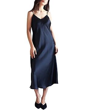 [Sponsorizzato]YAOMEI Camicia da Notte Donna lungo Pigiama Pigiami Raso, Luxury della biancheria della cinghia di spaghetti Babydoll...