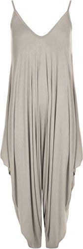 WearAll - Lagenlook Strappy Ausgebeult Harem Jumpsuit Kleid Top Playsuit Cami - Grau - Eine Größe