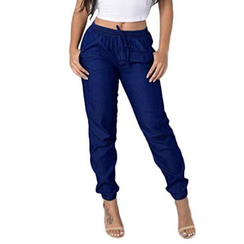 beautyjourney Pantalones deportivos casuales para mujer, Pantalones Harem cintura elástica de las mujeres Pantalones vaqueros sueltos de cintura alta Pantalones de mezclilla azul Leggings