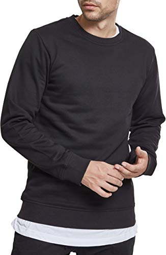 Urban Classics Herren Basic Terry Crew Sweatshirt, Schwarz (Black 00007), L Terry Sweatshirt