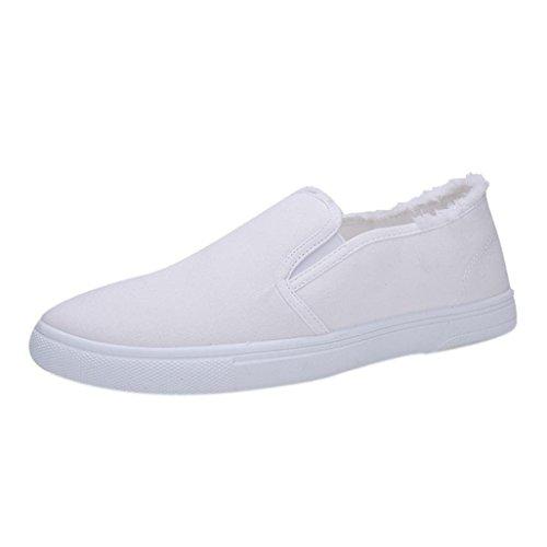 Scarpe Uomo ASHOP Scarpe da Uomo Singole Scarpe da College Bianche in Tela Stile College Sneakers Uomo(EU 42,Bianca)