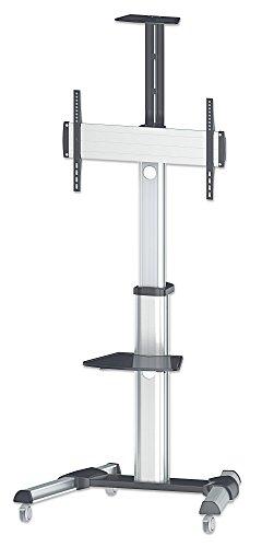 """Manhattan 461245 Universal Multimedia TV-Ständer auf Rollen für Bildschirme 37"""" bis 70"""" ( bis zu 50 kg Kamerahalterung und AV-Fachboden abnehmbar ) schwarz silber"""