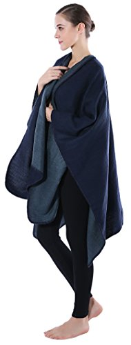 XXL Schals Damen Großer, Langer Poncho aus Baumwolle - Cape für Herbst & Winter - Warmer, Bequemer & Eleganter Umhang Marineblau / Blau