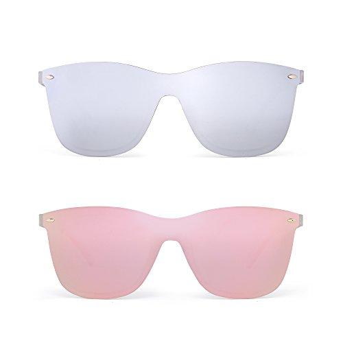 Randlos Spiegel Sonnenbrille Ein Stück Rahmenlos Brille Damen Herren 2 Stück (Silber & Pink)