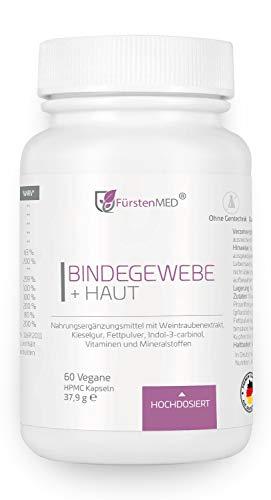 FürstenMED® Bindegewebe Kapseln + Straffe Haut - Anti Cellulite Orangenhaut - Hochdosiert mit OPC, Kieselgur, Ala, Biotin, Zink uvm. Vegan & Ohne Zusatzstoffe -