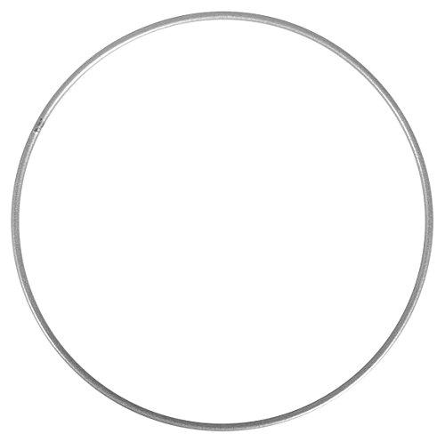 Rayher 2505322 Metallring, silber beschichtet, 25 cm ø, Stärke ca. 3,5 mm, Drahtring zum Basteln, für Wickeltechnik, Traumfänger Ring, Makramee Ring, Floristik