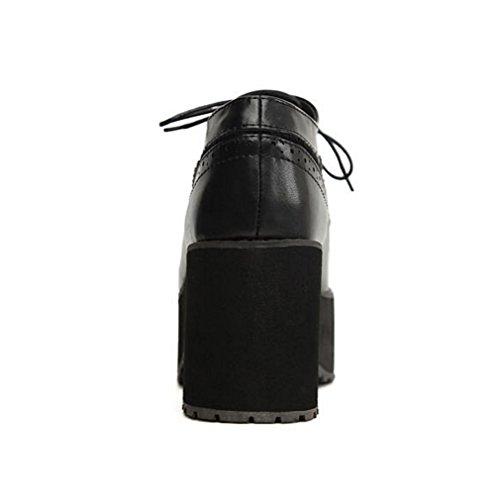 WZG Nouvelles chaussures rétro plate-forme à double sangle de tissu imperméable à talons hauts muffin épais talon chaussures de sport Black