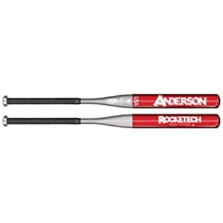 Anderson Bat Company Rocketech (-9) Fast Pitch Softball Bat, Red/Silver, 30-Inch/21-Ounce